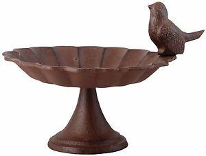 Wild Bird Bath Pond Cast Iron Standing Pedestal Outdoor Decor Garden Yard Lawn