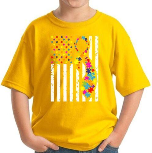 Youth Autism Flag Shirts for Kids Autism Awareness T Shirt with USA Flag Gift