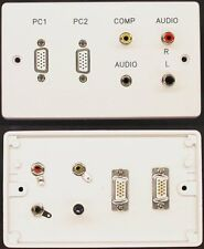 AV Wall Plate, 2 x VGA Video / 3 x RCA Phono Audio Video / 3.5mm Jack Sockets