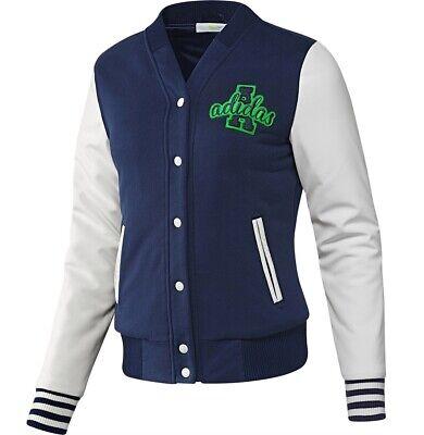 Adidas Womens College Winter Jacket Warm Leather Jacket Bomber Jacket Navy BlueWhite | eBay