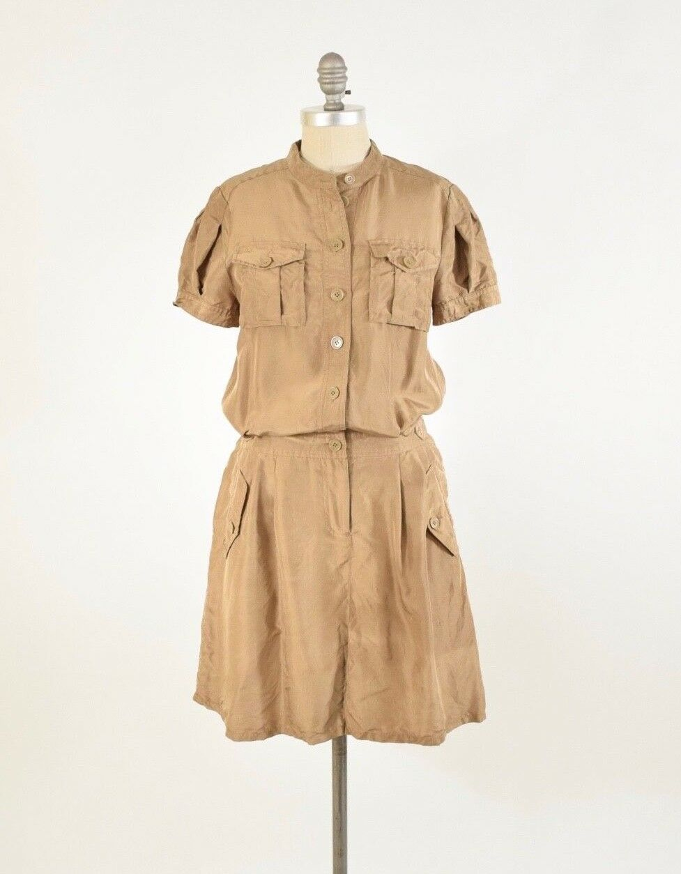 Marc Jacobs Romper WOMENS S Short Sleeve Safari-Style Tan Button-Up
