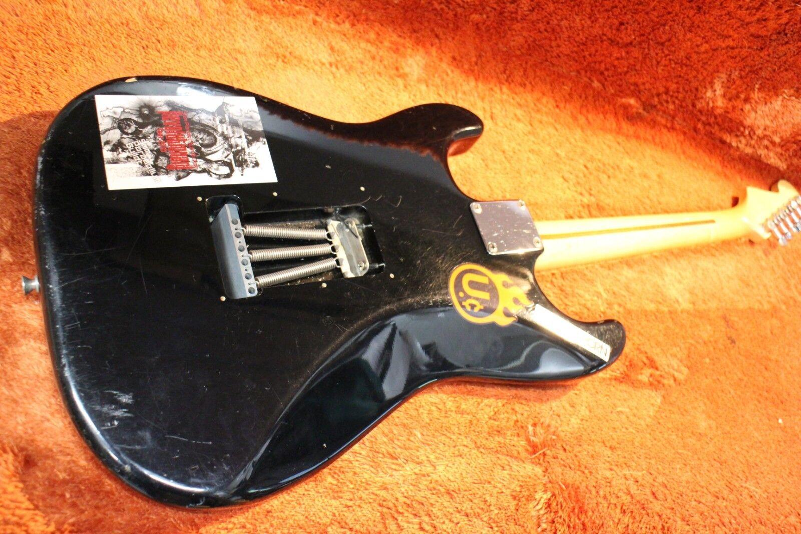 Guitarra Guitarra Guitarra Eléctrica Usada Fender Japón Stratocaster Cuerpo Negro Cuello de Arce U265 180926 5df585