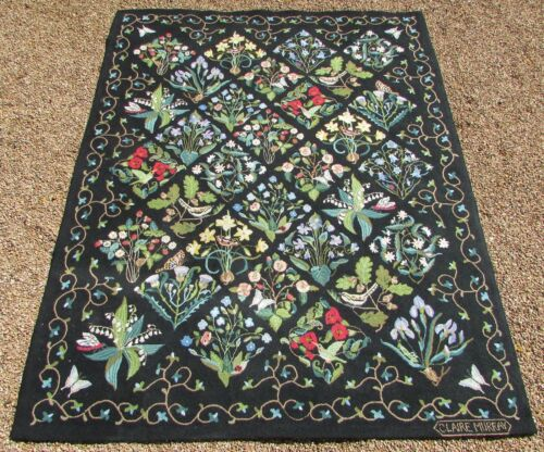 $1,300 VTG Claire Murray Hand Hooked Wool Rug Millefleurs Black 7x9