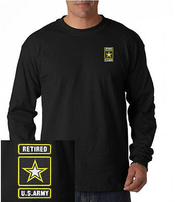 US Army Retired Logo EMBROIDERED Navy Blue Long Sleeve T Shirt  US Military