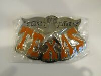 Lone Star State Texas Bull Horns Orange Letters Belt Buckle