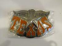 Lone Star State Texas Bull Horns Orange Letters Belt Buckle
