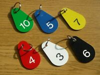 Set of 10 x Numbered Locker Key Tags / Fobs - Clubs, Leisure Centres, Schools