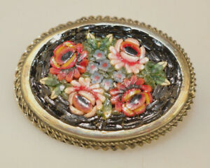 Vintage Mosaic work Pin Brooch Floral Multicoloured Italy 1950/'s Green Oval  Background Goldtone