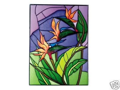 10x14 CARDINAL Bird Stained Art Glass Hanging Suncatcher
