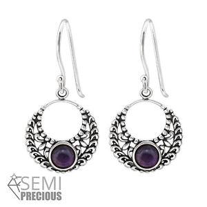 925-Sterling-Silver-Circle-with-Amethyst-Gemstone-Drop-Dangle-Earrings-D2