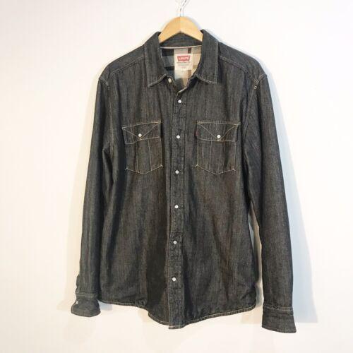 LEVI'S  Denim Plaid Large Shirt Jacket Dark Wash I