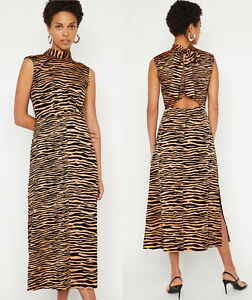Warehouse-NEW-Womens-Tiger-High-Neck-Midi-Dress-in-Black-amp-Brown-Sizes-6-to-18