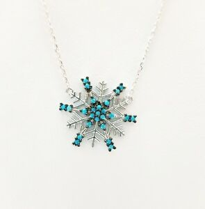 925-Sterling-Silver-Blue-Turquoise-Snowflake-Pendant-Necklace