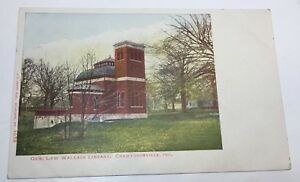 VINTAGE-POSTCARD-Lew-Wallace-Library-Crawfordsville-Indiana-unposted-undivided