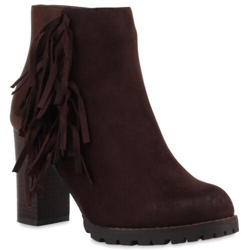 Klassische Damen Stiefeletten Fransen Ankle Boots High Heel Booties 77651 Top