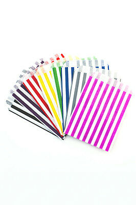 x75 Sweet Bags Paper Striped Candy Buffet Pick Mix Wedding Party Gift Cake Loot