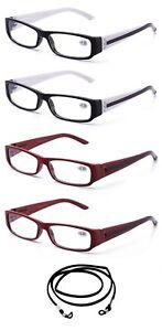 4-Pack-Bulk-Unisex-Reading-Glasses-Rectangular-Frame-Spring-Hinge-Small-Frame