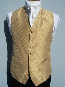 MENS AND PAGE BOYS GOLD SILK WEDDING DRESS SUIT WAISTCOAT 36 38 40 42