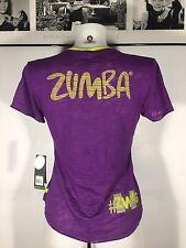 Zumba Fitness Instructor  V Neck Tee Top Light  Spicy Sz S Purple Neon Green