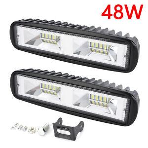 2X 48W LED Arbeitsscheinwerfer Light Bar Offroad Flutlicht Strahler 12V 24V DHL