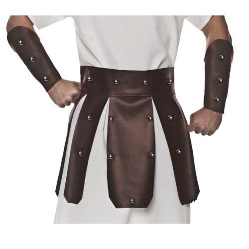 Adult Mens Roman Spartan 300 Gladiator Brown Costume Belt Skirt Gauntlets Armor