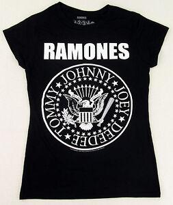 "RAMONES /""SEAL/"" CLASSIC LOGO GIRLS JUNIORS BLACK T SHIRT NEW OFFICIAL"