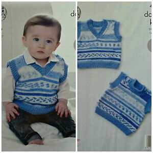 cff7ae5cfcf9 KNITTING PATTERN Baby Easy Knit Sleeveless Round  V-Neck Jumper DK ...
