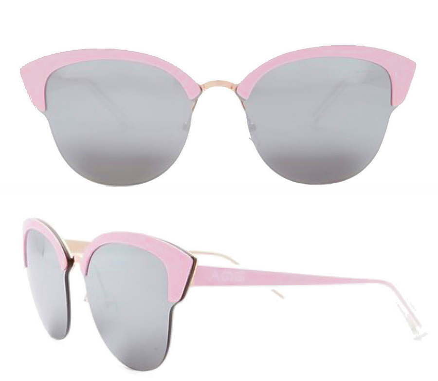 AQS Aquaswiss Cat Eye Sunglasses Pink Gray Mirrored Lens 70-13-145 Italy