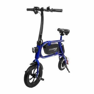 Swagtron-200W-Envy-Steel-Frame-Folding-Electric-Bicycle-e-Bike-Reach-10-mph-Blue