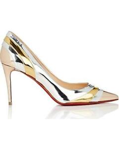 brand new 5772a da85d Details about Christian Louboutin EKLECTICA 85 Striped Metallic Mirrored  Heel Pumps Shoes $845