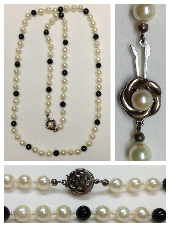 Largo akoyaperlen y ónix Collar 925 silververschluß joyas perlas 73cm
