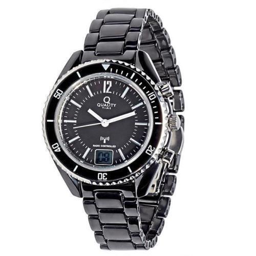 Quality Time Keramik-Funkuhr Prestige schwarz Armbanduhr Damen