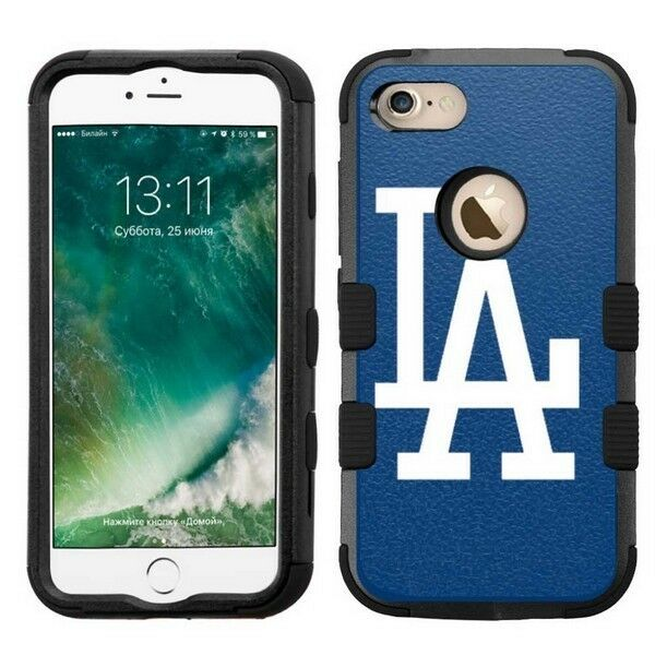 new products 6faa0 db020 for Apple iPhone 8 Impact Armor Rugged Hard Hybrid Case Los Angeles Dodgers  #B