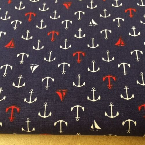 Shabby Chic Anchor 100/% Cotton Fabric Price per 1//2 metre