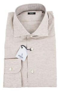 Men's Clothing Barba 49% Cotton/51% Linen 15.75/40 Dress Shirt Sand Brown Careful Calculation And Strict Budgeting Shirts