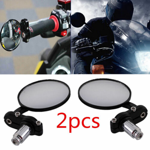 """1 Pair Motorcycle Round 7//8/"""" Bar End Rearview Side Mirrors For Bobber Cafe Racer"""