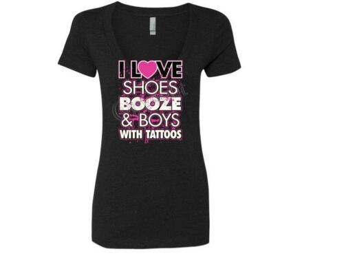 I Love Shoes Booze And Boys With Tattoos Ladies Deep V-Neck T-Shirt SM To XL