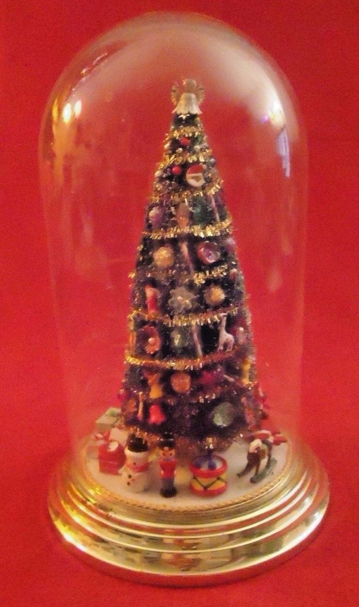 Miniature Christmas Tree in Glass Dome Ornaments & Presents  1986 9 X6   everyday low prices