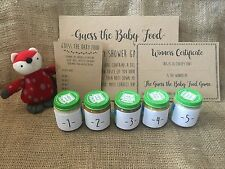 Baby Shower Guess the Baby Food Game, Activity, Game Cards, Certificate, sticker