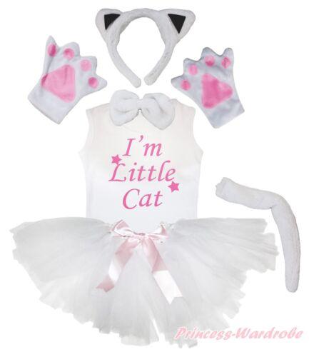 Halloween Party Kid White Cat 6P Headband Paw Tail Bow Shirt Gauze Skirt Costume