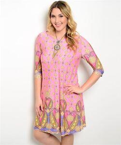 Junior-BOHO-CHIC-Pink-PAISLEY-Peasant-STRETCH-Shift-Dress-Plus-Size-XL-1X-2X-3X