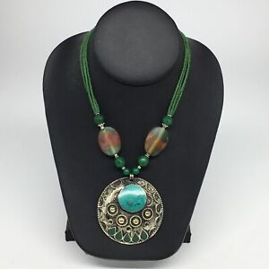 Turkmen-Necklace-Afghan-Ethnic-Tribal-Turquoise-Inlay-Beaded-Pendant-Necklace-VS