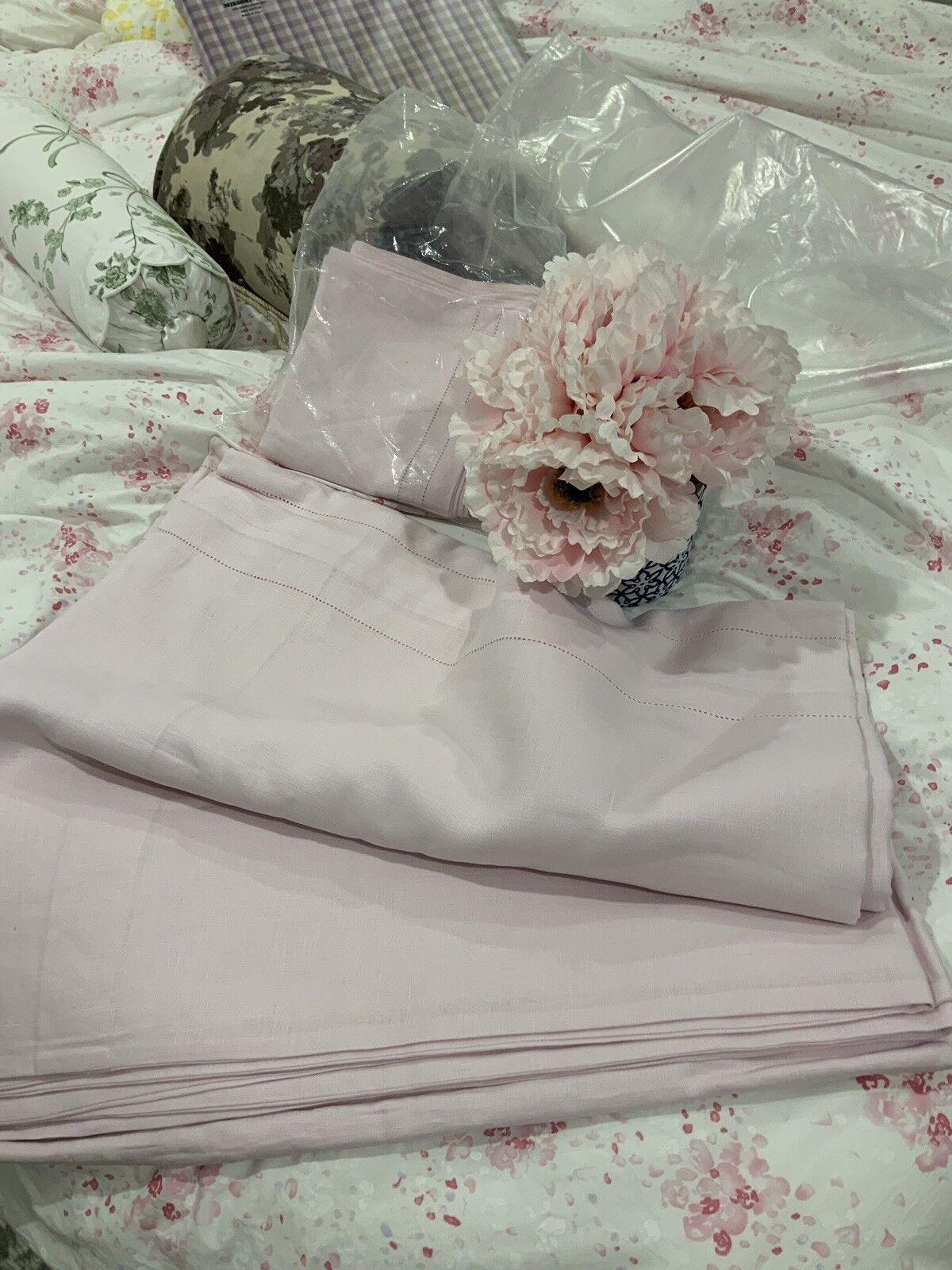Aldona Poland NWT 3pc Queen Duvet Set 100% Linen Pink Buttons