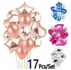 Mariage-Anniversaire-Ballons-Latex-Confettis-FOIL-Enfants-Garcon-Fille-Bebe-Fete-17pcs-set