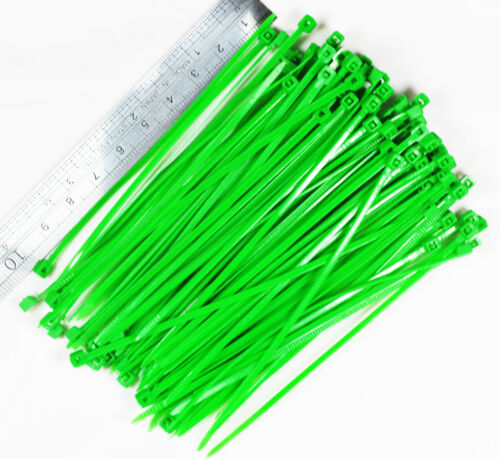 100 pcs 10cm Nylon Plastic Zip Trim Wrap Cable Loop Ties Wire Self-Locking Green
