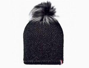 Rossignol-Womens-Faux-Fur-Pom-Black-Ski-Knit-Beanie-Ski-Cap-Hat-Retail-80