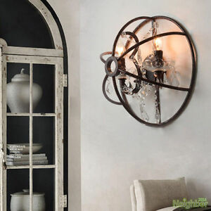 rustic crystal led wall lamp semicircle iron wall light sconce