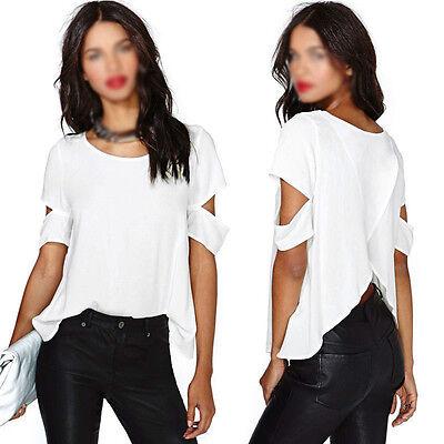 Chic Women Cross Back Cut-out Short Sleeve Chiffon Loose Tops Blouse T-shirts