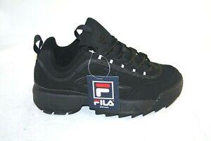 Kid-039-S-Fila-Disruptor-II-FW04481-001-ALL-BLACK-CASUAL-SHOE