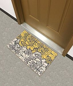 Rubber Backed Doormat Black Ivory Yellow Home Kitchen